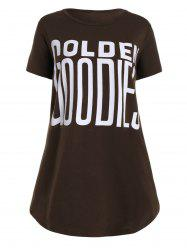 Plus Size Gloden Letter Basic Long T-shirt