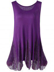 Lace Trim Plus Size Handkerchief Tank Top - PURPLE