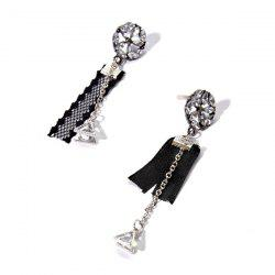 Rhinestone Floral Triangle Vintage Chain Earrings