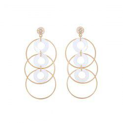 Alloy Rhinestone Shell Circle Earrings