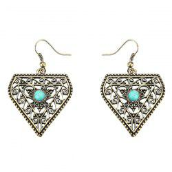 Artificial Turquoise Geometric Hollow Out Boho Earrings