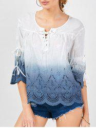 Lace-up Scalloped Ombre Top