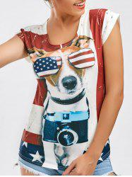 Short Sleeve American Flag Print Patriotic Tee