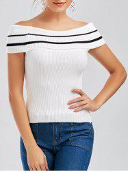 Off The Shoulder Knit Striped Tee