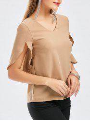 V Neck Cut Out Chiffon Blouse