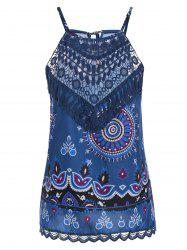 Crochet Lace Insert Printed Tank Top - CERULEAN