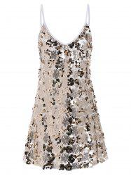 Sequin Glitter Shiny Slip Club Dress - GOLDEN