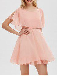 Chiffon Cold Shoulder Mini Summer Dress - PINK