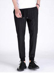 Vertical Stripe Drawstring Jogger Pants