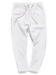 Straight Leg Muti-pocket Casual Pants - WHITE