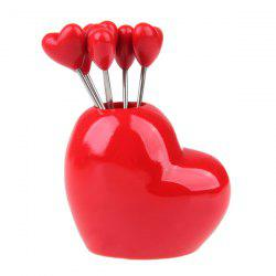 Cute Plastic Love Heart Stainless Steel Fruit Fork Set Novelty Gift - RED
