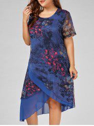 Asymmetrical Chiffon Floral Plus Size Dress