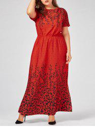 Leaf Print Short Sleeve Plus Size Maxi Evening Dress -