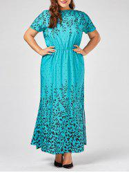 Olive Branch Printed Plus Size Maxi Evening Modest Dress