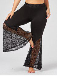 Plus Size Lace Crochet Panel Bell Bottom Pants