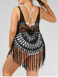 Crochet Tassel Plus Size Cover-Up - BLACK
