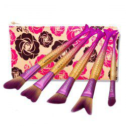 Mermaid Tail Makeup Brushes Set With Floral Brush Bag