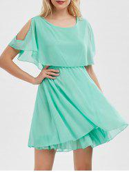 Chiffon Cold Shoulder Mini Summer Dress - LIGHT GREEN