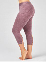 Criss Cross Cutout Plus Size Capri Fitness Leggings - PINKISH PURPLE 2XL