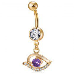 Faux Gem Hollow Out Eye Navel Button -