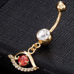 Faux Gem Hollow Out Eye Navel Button - RED