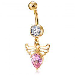 Faux Gem Angel Wing Design Navel Button - PINK