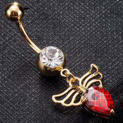 Faux Gem Angel Wing Design Navel Button - RED