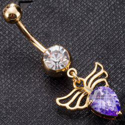 Faux Gem Angel Wing Design Navel Button - PURPLE