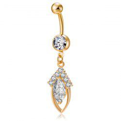 Rhinestone Hollow Out Fusiform Navel Button Jewelry - GOLDEN