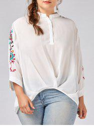Plus Size Button Floral Embroidered Chiffon Blouse