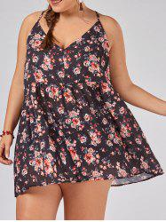 Plus Size Floral Printed Cami Smock Top - FLORAL 3XL