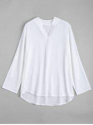 Transparent V Neck Plus Size Chiffon Blouse