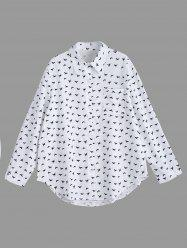 Bird Printed Button Up Plus Size Long Sleeve Shirt