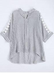 Notched Lace Panel High Low Plus Size Stripe Shirt