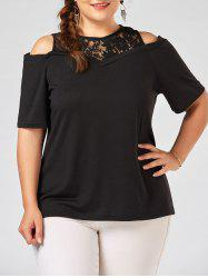 Lace Panel Long Plus Size Open Shoulder T-shirt