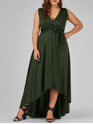 Plus Size V Neck High Low Prom Dress - ARMY GREEN