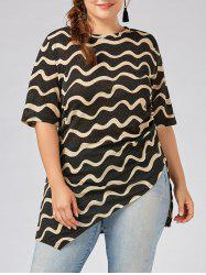 Plus Size Ruched  Wavey Stripe Sparkly Asymmetric Dress