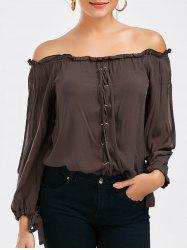 Lace-up Split Sleeve Off The Shoulder Top