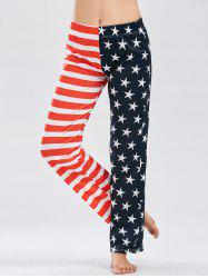 Patriotic American Flag Print Pants