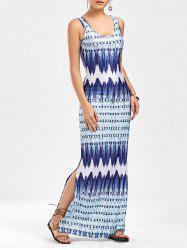 Ornate Print Side Slit Maxi Sleeveless Dress - BLUE