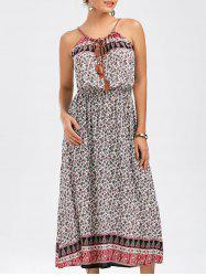 Spaghetti Strap Tiny Floral Print Dress - COLORMIX