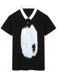 Short Sleeve Figure Print Graphic Polo T-shirt
