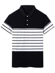 Short Sleeve Stripe Panel Polo T-shirt