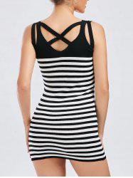 Criss Cross Knit Striped Bodycon Dress