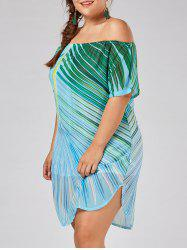 Plus Size Leaf Printed Tropical Off The Shoulder  Dress