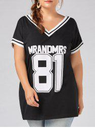 81 Number Graphic V Neck Plus Size Tee Dress