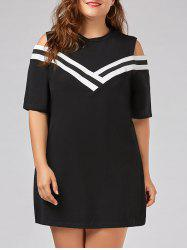 Stripe Panel Plus Size Cold Shoulder T-shirt Dress -