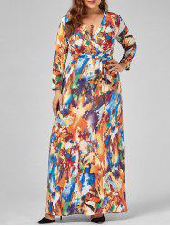 Plus Size V Neck Printed Floor Length Dress