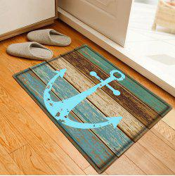 Deck Anchor Pattern Flannel Bathroom Floor Mat - CYAN