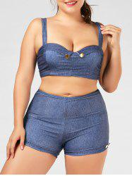 Denim Print Plus Size High Waisted Bikini